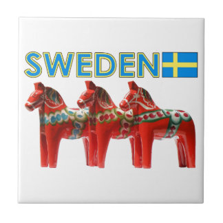 Sweden Dala Horses Small Square Tile