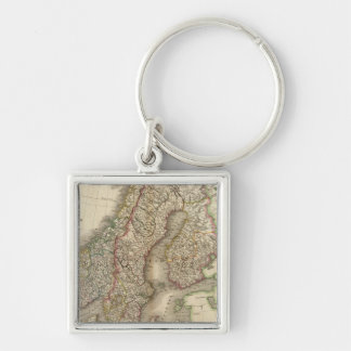 Sweden, Denmark and Norway Silver-Colored Square Key Ring