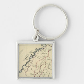 Sweden, Denmark, Norway 2 Silver-Colored Square Key Ring