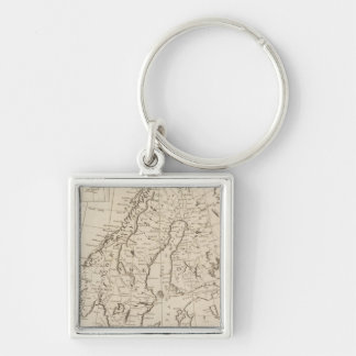 Sweden, Denmark, Norway and Finland 3 Silver-Colored Square Key Ring