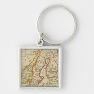 Sweden, Denmark, Norway, Finland, Iceland Silver-Colored Square Key Ring