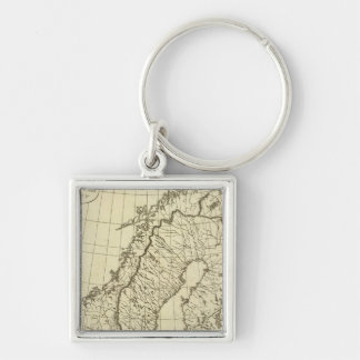 Sweden, Denmark, Norway outline Silver-Colored Square Key Ring