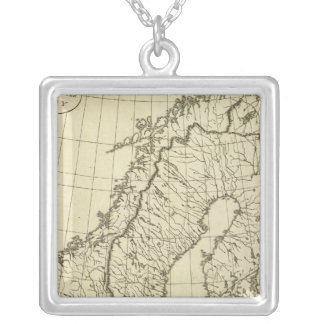 Sweden, Denmark, Norway outline Silver Plated Necklace