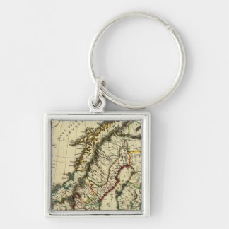 Sweden, Denmark, Norway with boundaries outlined Silver-Colored Square Key Ring