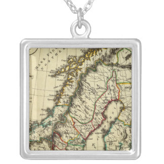 Sweden, Denmark, Norway with boundaries outlined Silver Plated Necklace