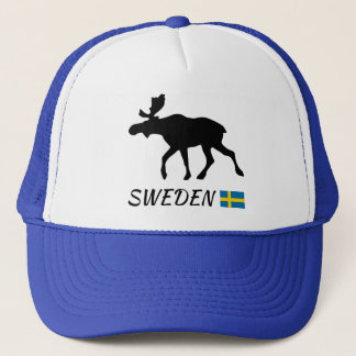 Sweden Elk and flag Trucker Hat