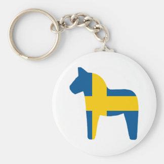 Sweden Flag Dala Horse Basic Round Button Key Ring