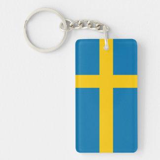 SWEDEN FLAG Double-Sided RECTANGULAR ACRYLIC KEY RING