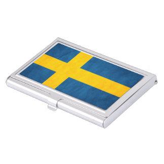 Sweden Flag Grunge Business Card Holder
