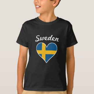 Sweden Flag Heart T-Shirt