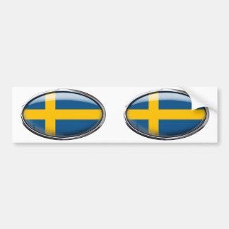 Sweden Flag in Glass Oval Bumper Sticker