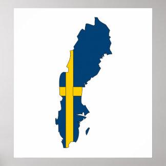 Sweden Flag Map full size Poster