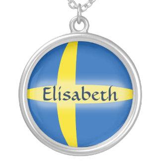 Sweden Flag + Name Necklace