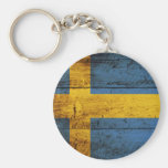 Sweden Flag on Old Wood Grain Basic Round Button Key Ring
