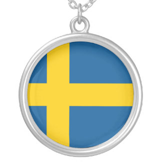 Sweden Flag Silver Plated Necklace