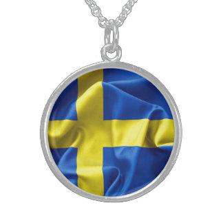 Sweden Flag Sterling Silver Necklace