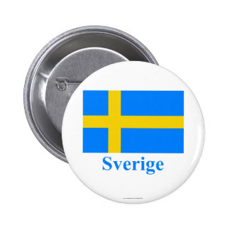 Sweden Flag with Name in Swedish Pin