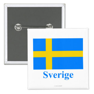Sweden Flag with Name in Swedish Buttons