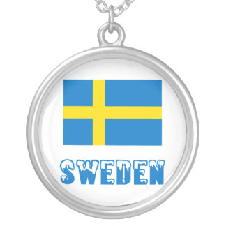 Sweden Flag & Word Round Pendant Necklace