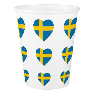SWEDEN HEART SHAPE FLAG PAPER CUP