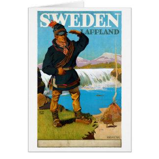 Sweden Lappland Vintage Travel Poster Restored Card