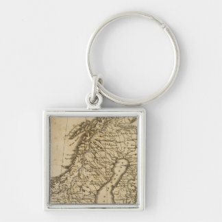 Sweden, Norway 3 Silver-Colored Square Key Ring