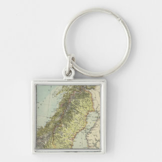 Sweden, Norway, Denmark Silver-Colored Square Key Ring