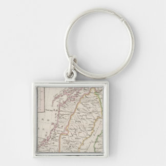 Sweden, Norway, Iceland Silver-Colored Square Key Ring