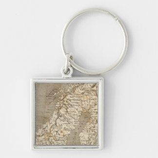 Sweden, Norway Map by Arrowsmith Silver-Colored Square Key Ring