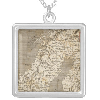 Sweden, Norway Map by Arrowsmith Silver Plated Necklace