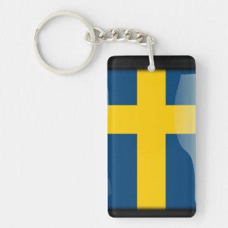Sweden polished flag Double-Sided rectangular acrylic key ring