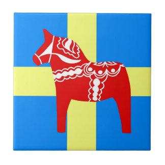 Sweden Red Dala Horse Small Square Tile