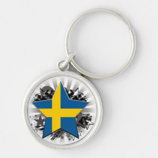 Sweden Star Silver-Colored Round Key Ring