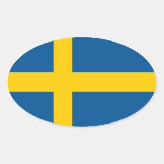 Sweden/Swede/Swedish Flag Oval Sticker