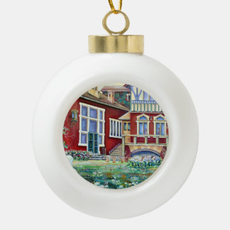 Sweden, Traditional Landscape Ceramic Ball Christmas Ornament