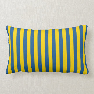 Sweden Ukraine flag stripes lines pattern blue yel Lumbar Cushion