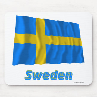 Sweden Waving Flag with Name Mouse Pads