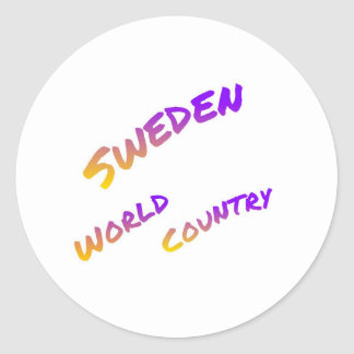 Sweden world country, colorful text art classic round sticker