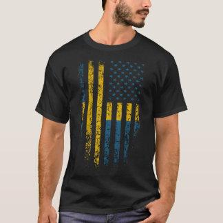 Swedish American Flag Grunge T-Shirt