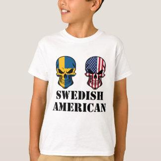 Swedish American Flag Skulls T-Shirt