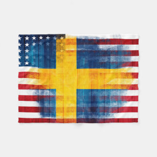 Swedish American Flag | Wood Grain & Paint Strokes Fleece Blanket