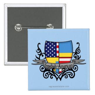 Swedish-American Shield Flag Pinback Button