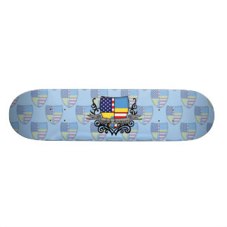 Swedish-American Shield Flag Custom Skateboard