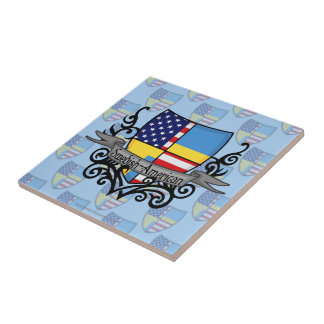 Swedish-American Shield Flag Small Square Tile