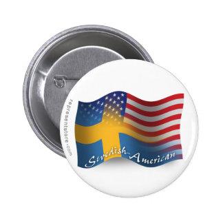 Swedish-American Waving Flag Button