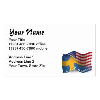 Swedish-American Waving Flag Business Cards