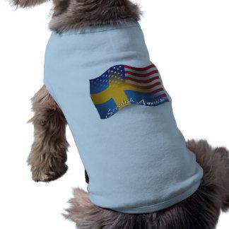 Swedish-American Waving Flag Doggie T Shirt