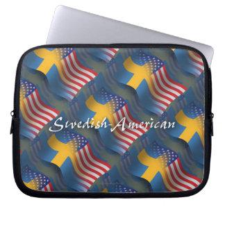 Swedish-American Waving Flag Laptop Computer Sleeves