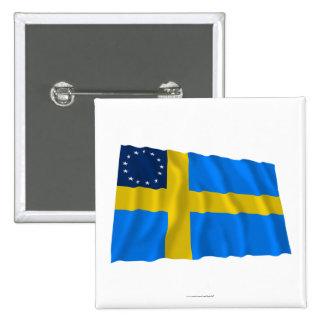 Swedish-American Waving Flag Pinback Buttons