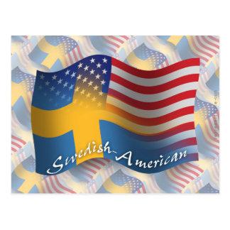 Swedish-American Waving Flag Postcard